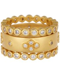 Freida Rothman - 14k Yellow Gold Sterling Silver Audrey Cz Stacking Ring - Set Of 3 - Lyst