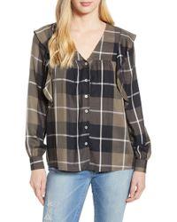 Bobeau - Ruffled Plaid Shirt (regular & Petite) - Lyst