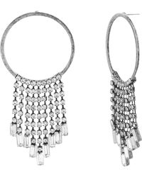 Steve Madden - Crystal Fringe Chain Hoop Earrings - Lyst