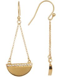 Cole Haan - Pave Crystal Half Disk Chain Drop Earrings - Lyst