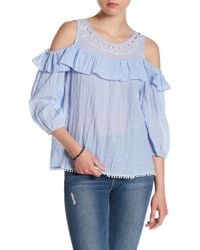 Skies Are Blue - Embroidered Cold Shoulder Blouse - Lyst