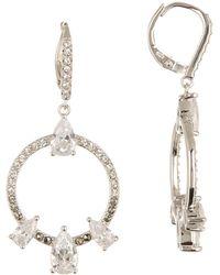 Judith Jack - Sterling Silver Swarovski Drop Hoop Earrings - Lyst