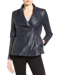 Via Spiga - Faux Fur & Faux Leather Trim Asymmetrical Zip Moto Coat - Lyst