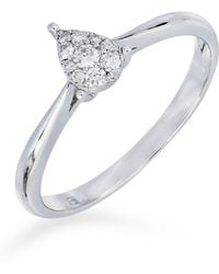 Bony Levy - 18k White Gold Diamond Cluster Pear Ring - 0.11 Ctw - Lyst