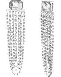 Steve Madden - Clear Crystal Glass Drop Earrings - Lyst