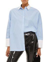 TOPSHOP - Oversize Stripe Shirt - Lyst