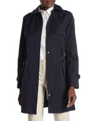 Cole Haan - Detachable Hood Faux Leather Trim Trench Coat - Lyst