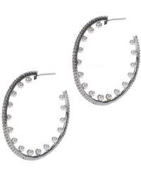 CZ by Kenneth Jay Lane - Inside Out Glass Pearl 38mm Hoop Earrings - Lyst