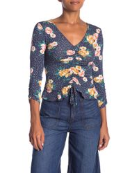 Hiatus - 3/4 Sleeve Shirred Front Top - Lyst