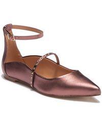 Halston - Arwen Mink Metallic Leather Studded Flat - Lyst