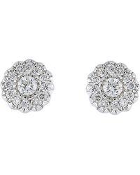Bony Levy - 18k White Gold Diamond Flower Stud Earrings - 0.09 Ctw - Lyst