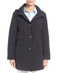 Ellen Tracy - A-line Detachable Hood Sailcloth Coat - Lyst