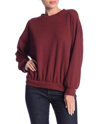 Lush - Textured Rib Knit Long Sleeve Pullover - Lyst