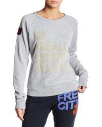 FREE CITY - Fuzzy Brokenhearted Raglan Sweater - Lyst