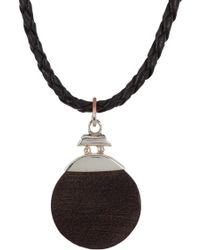 Link Up - Black Wood Circle & Sterling Silver Pendant Necklace - Lyst