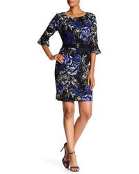 Connected Apparel - Floral Print Bell Sleeve Belted Dress - Lyst