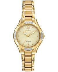 Citizen - Women's Eco-drive Diamond Accent Gold-tone Stainless Steel Bracelet Watch 30mm Em0452-58p - Lyst