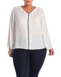 f941bfb75c47e Philosophy Apparel - Flared Sleeve Pipe Trim Blouse (plus Size) - Lyst