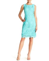 Chetta B - Solid Lace Fitted Dress - Lyst
