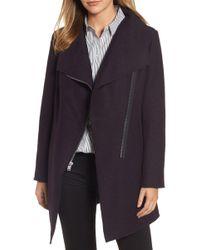 Halogen - Asymmetrical Zip Boiled Wool Blend Coat - Lyst
