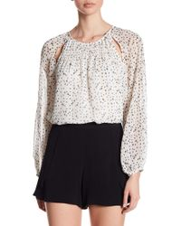 1.STATE - Long Sleeve Print Blouse - Lyst