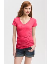 Caslon - Shirred V-neck Tee (petite) - Lyst