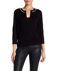 Cable & Gauge | Faux Pearl Neck Cardigan (petite) | Lyst