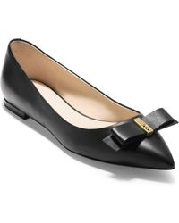 Cole Haan - Elsie Leather Bow Skimmer Flat - Lyst