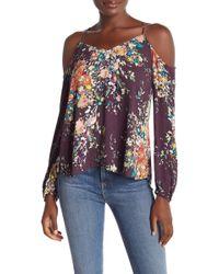 Love Stitch - Cold Shoulder Floral Printed Blouse - Lyst