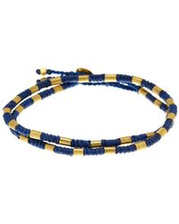 Link Up - Waxed Navy Cord Antique Bead Bracelet - Lyst