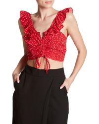Dress Forum - Ruched Polka Dot Crop Top - Lyst