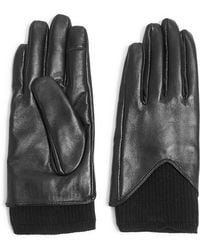 TOPSHOP - Rib Knit & Leather Touchscreen Gloves - Lyst