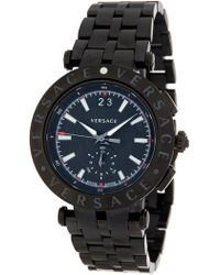 Versace - Men's Ion Plated Black Case Watch, 40mm - Lyst