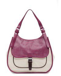 Longchamp - Blzane Leather Canvas Shoulder Bag Hobo - Lyst