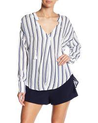 Line & Dot - Gavin Striped Split Neck Shirt - Lyst