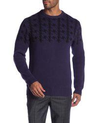 Ben Sherman - Long Sleeve Dogtooth Crew Neck Sweater - Lyst