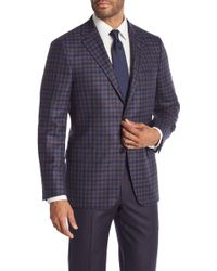 Hickey Freeman - Blue Brown Plaid Two Button Notch Lapel Cashmere Classic Fit Sport Coat - Lyst