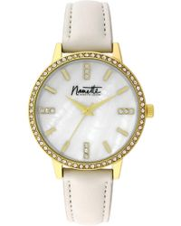 Nanette Nanette Lepore - Women's Wind-up Crystal Leather Strap Watch, 36mm - Lyst