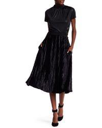 Laundry by Shelli Segal   Pleated Velvet Midi Skirt   Lyst