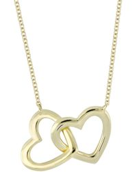 Bony Levy - 14k Yellow Gold Open Double Hearts Pendant Necklace - Lyst
