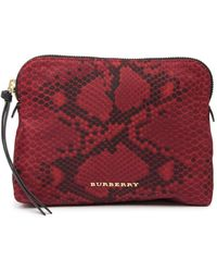 Burberry Porter Leather Trimmed Pouch - Black