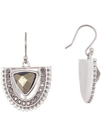 Lucky Brand - Half Circle Pave Drop Earrings - Lyst