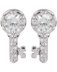 Nadri - Cz Accented Reminisce Key Stud Earrings - Lyst