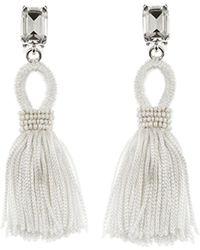 Oscar de la Renta - Beaded Short Silk Tassel Clip On Earrings - Lyst