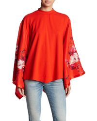 Free People - Sydney Embroidered Batwing Sleeve Blouse - Lyst