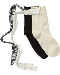 Memoi Bonny Ribbon Anklet Socks - Pack Of 2