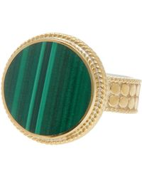 Anna Beck - 18k Gold Plated Sterling Silver Round Malachite Stone Ring - Lyst