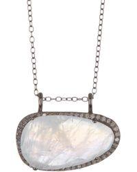 Adornia - Sterling Silver Diamond Halo Moonstone Pendant Necklace - Lyst
