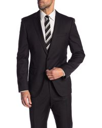 BOSS - Hayes Black Solid Two Button Notch Lapel Wool Suit Separates Jacket - Lyst