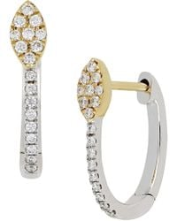 Bony Levy - 18k Two-tone Gold Diamond Detail Marquise Accent Hinged Earrings - 0.12 Ctw - Lyst